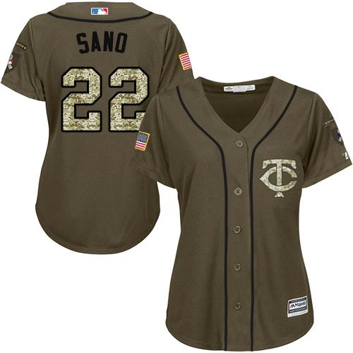Twins #22 Miguel Sano Green Salute to Service Women's Stitched Baseball Jersey