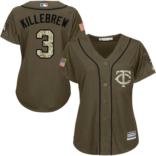 Twins #3 Harmon Killebrew Green Salute to Service Women's Stitched Baseball Jersey