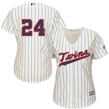 Twins #24 Trevor Plouffe Cream Strip Alternate Women's Stitched Baseball Jersey