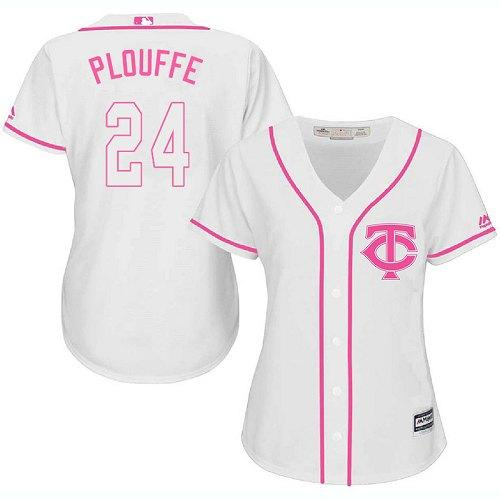 Twins #24 Trevor Plouffe White Pink Fashion Women's Stitched Baseball Jersey
