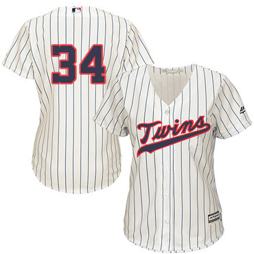 Twins #34 Kirby Puckett Cream Strip Alternate Women's Stitched Baseball Jersey