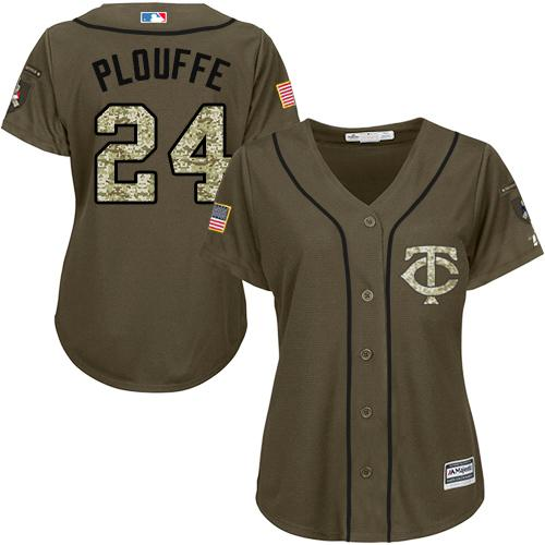 Twins #24 Trevor Plouffe Green Salute to Service Women's Stitched Baseball Jersey