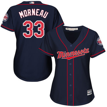 Twins #33 Justin Morneau Navy Blue Alternate Women's Stitched Baseball Jersey