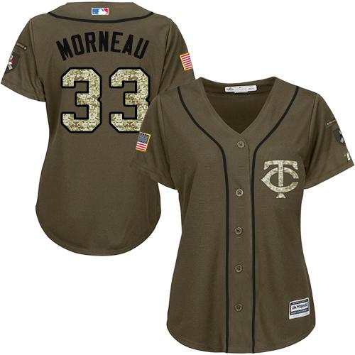 Twins #33 Justin Morneau Green Salute to Service Women's Stitched Baseball Jersey