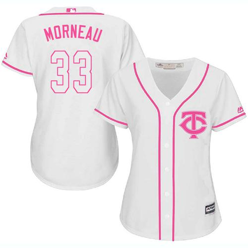 Twins #33 Justin Morneau White Pink Fashion Women's Stitched Baseball Jersey