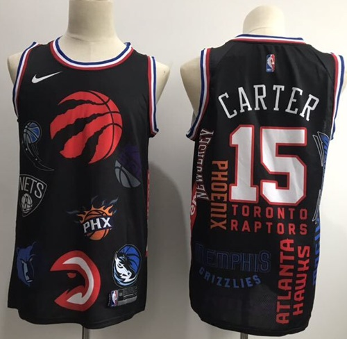 Raptors #15 Vince Carter Black Basketball Swingman Jointly Team Jersey