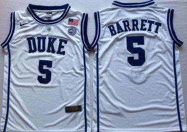 Duke Blue Devils 5 RJ Barrett White Nike College Basketball Jersey