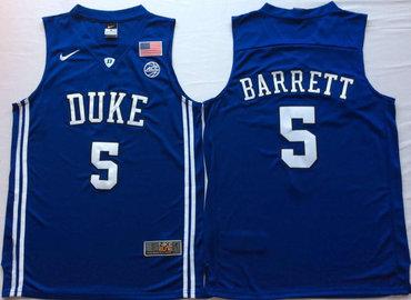 Duke Blue Devils 5 RJ Barrett Blue Elite Nike College Basketball Jersey