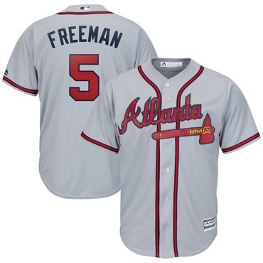 Men's Atlanta Braves 5 Freddie Freeman Gray Cool Base Jersey