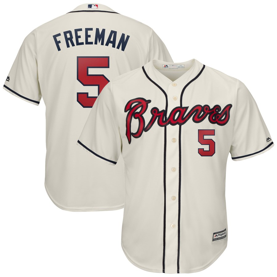 Men's Atlanta Braves 5 Freddie Freeman Cream Cool Base Jersey
