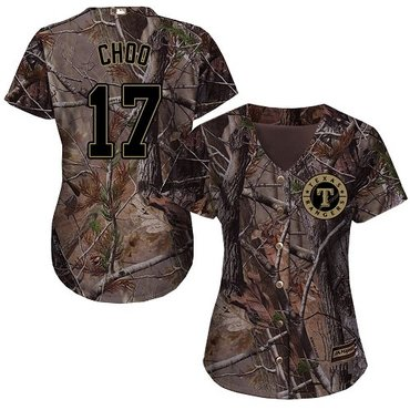 Rangers #17 Shin-Soo Choo Camo Realtree Collection Cool Base Women's Stitched Baseball Jersey