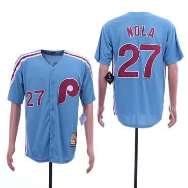Men's Philadelphia Phillies 27 Aaron Nola Blue Cooperstown Collection Jersey