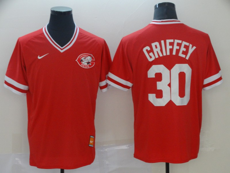 Men's Cincinnati Reds 30 Ken Griffey Jr Red Throwback Jersey
