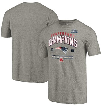 New England Patriots NFL Pro Line by Fanatics Branded 2018 AFC Champions Halfback Sweep Tri Blend T-Shirt Heather Gray