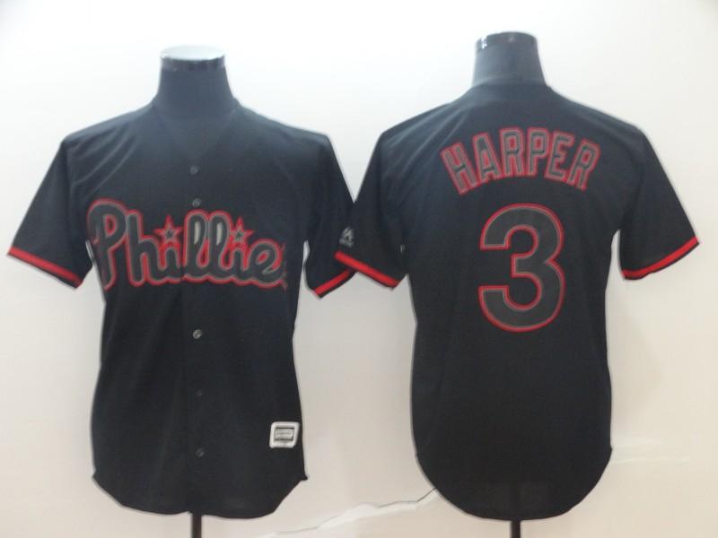 Men's Philadelphia Phillies 3 Bryce Harper Black Shadow Legend Cool Base Jersey
