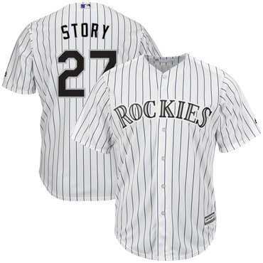 Men's Colorado Rockies 27 Trevor Story White Cool Base Jersey