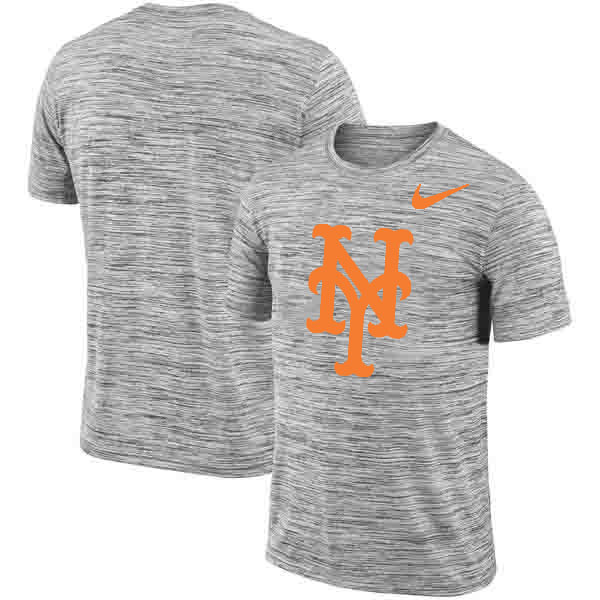 New York Mets Nike Heathered Black Sideline Legend Velocity Travel Performance T-Shirt