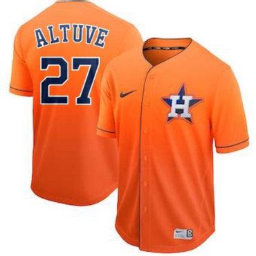 Men's Houston Astros 27 Jose Altuve Orange Drift Fashion Jersey