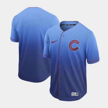 Men's Chicago Cubs Blank Blue Drift Fashion Jersey