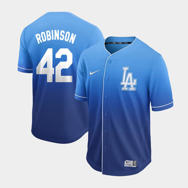Men's Los Angeles Dodgers 42 Jackie Robinson Blue Drift Fashion Jersey