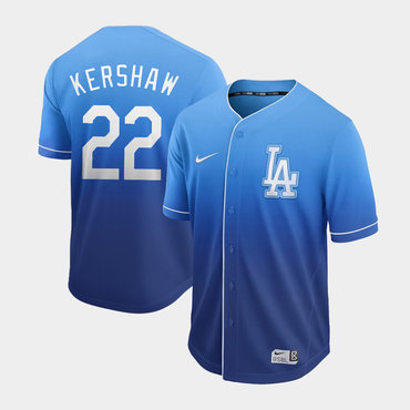 Men's Los Angeles Dodgers 22 Clayton Kershaw Blue Drift Fashion Jersey