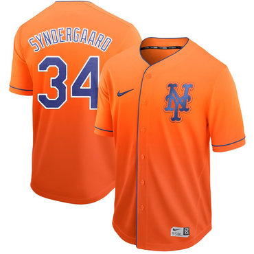 Men's New York Mets 34 Noah Syndergaard Orange Drift Fashion Jersey