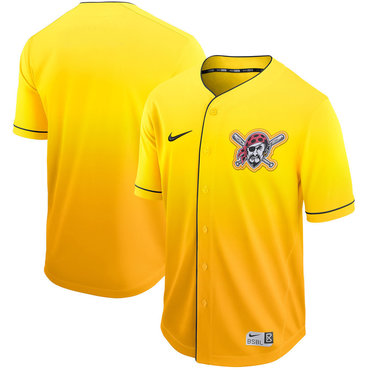 Men's Pittsburgh Pirates Blank Yellow Drift Fashion Jersey