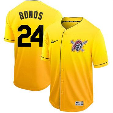 Men's Pittsburgh Pirates 24 Barry Bonds Yellow Drift Fashion Jersey