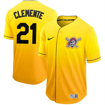 Men's Pittsburgh Pirates 21 Roberto Clemente Yellow Drift Fashion Jersey