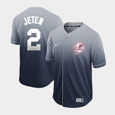 Men's New York Yankees 2 Derek Jeter Gray Drift Fashion Jersey