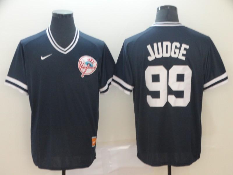 Men's New York Yankees 99 Aaron Judge Black Throwback Jersey