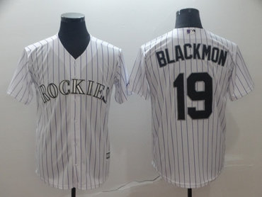 Men's Colorado Rockies 19 Charlie Blackmon White Cool Base Jersey