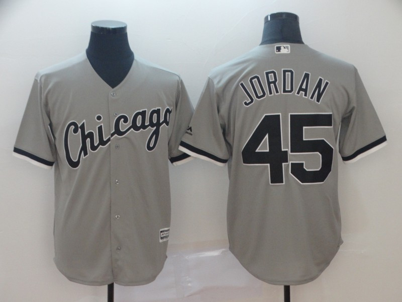 Men's Chicago White Sox 45 Michael Jordan Gray Cool Base Jersey