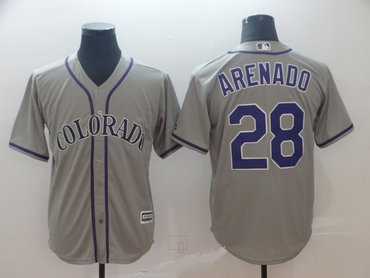 Men's Colorado Rockies 28 Nolan Arenado Gray Cool Base Jersey