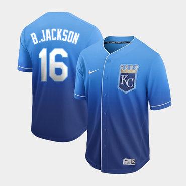 Men's Kansas City Royals 16 Bo Jackson Blue Drift Fashion Jersey