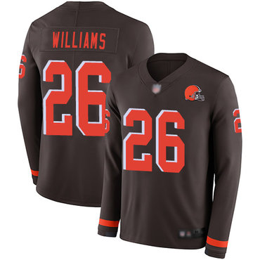 Browns #26 Greedy Williams Brown Team Color Men's Stitched Football Limited Therma Long Sleeve Jersey