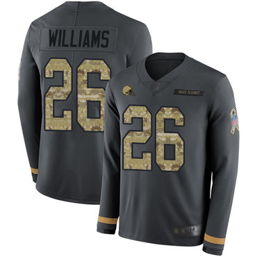 Browns #26 Greedy Williams Anthracite Salute to Service Men's Stitched Football Limited Therma Long Sleeve Jersey