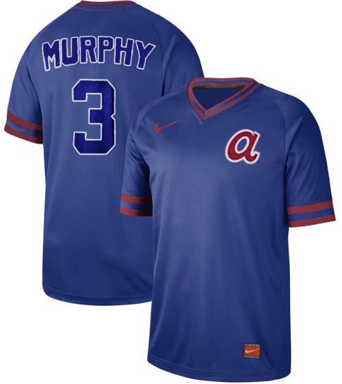 Braves #3 Dale Murphy Royal Authentic Cooperstown Collection Stitched Baseball Jersey