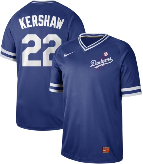 Dodgers #22 Clayton Kershaw Royal Authentic Cooperstown Collection Stitched Baseball Jersey