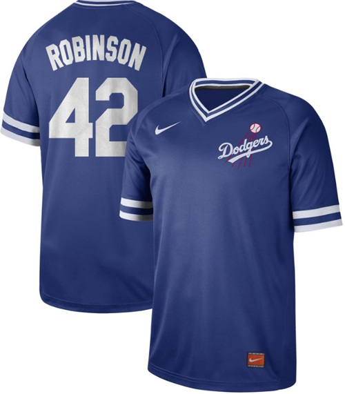 Dodgers #42 Jackie Robinson Royal Authentic Cooperstown Collection Stitched Baseball Jersey