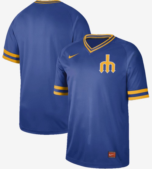 Mariners Blank Royal Authentic Cooperstown Collection Stitched Baseball Jersey