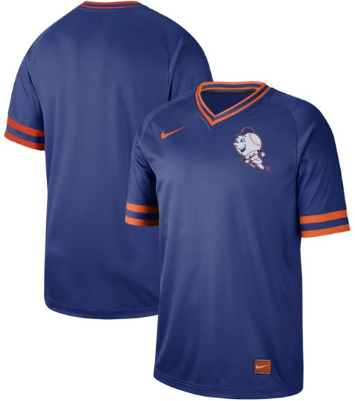 Mets Blank Royal Authentic Cooperstown Collection Stitched Baseball Jersey