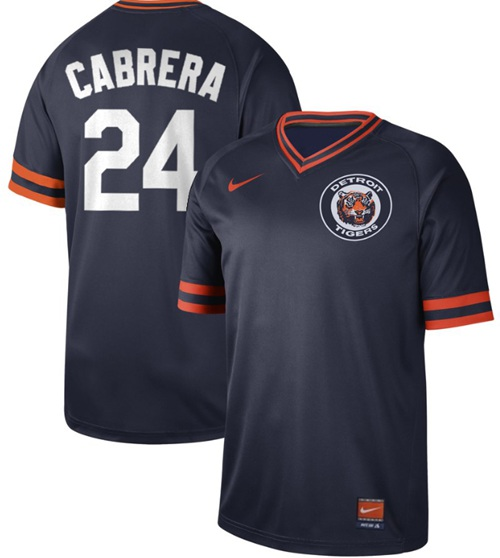 Tigers #24 Miguel Cabrera Navy Authentic Cooperstown Collection Stitched Baseball Jersey