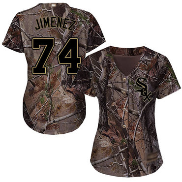 White Sox #74 Eloy Jimenez Camo Realtree Collection Cool Base Women's Stitched Baseball Jersey