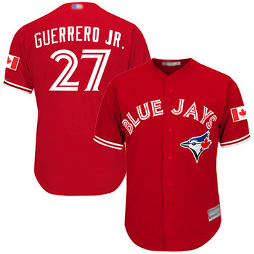 Blue Jays #27 Vladimir Guerrero Jr. Red Cool Base Canada Day Stitched Youth Baseball Jersey