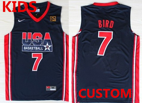 Kids Custom 1992 Olympics Team USA Navy Blue Swingman Jersey