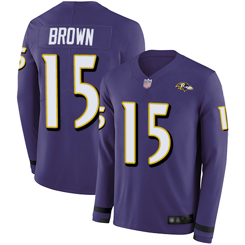 Ravens #15 Marquise Brown Purple Team Color Men's Stitched Football Limited Therma Long Sleeve Jersey