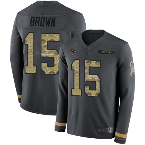 Ravens #15 Marquise Brown Anthracite Salute to Service Men's Stitched Football Limited Therma Long Sleeve Jersey