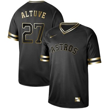Astros #27 Jose Altuve Black Gold Authentic Stitched Baseball Jersey