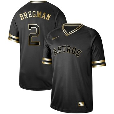 Astros #2 Alex Bregman Black Gold Authentic Stitched Baseball Jersey